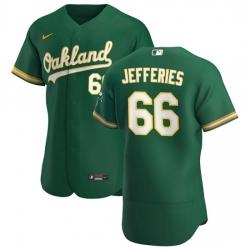 Oakland Athletics 66 Daulton Jefferies Men Nike Kelly Green Alternate 2020 Authentic Player MLB Jersey
