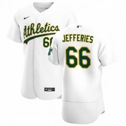 Oakland Athletics 66 Daulton Jefferies Men Nike White Home 2020 Authentic Player MLB Jersey