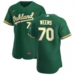 Oakland Athletics 70 Jordan Weems Men Nike Kelly Green Alternate 2020 Authentic Player MLB Jersey