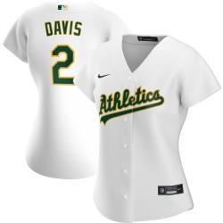 Oakland Athletics 2 Khris Davis Nike Women Home 2020 MLB Player Jersey White