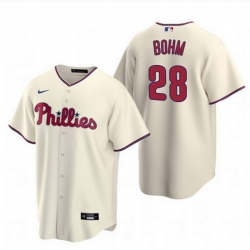 Men Philadelphia Phillies 28 Alec Bohm Cream Alternate Jersey
