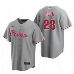 Men Philadelphia Phillies 28 Alec Bohm Gray Road Jersey
