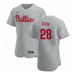 Men Philadelphia Phillies 28 Alec Bohm Men Nike Gray Road 2020 Authentic Player MLB Jersey