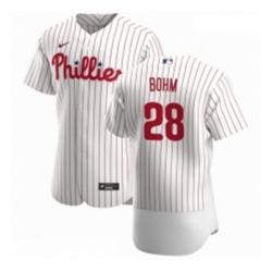 Men Philadelphia Phillies 28 Alec Bohm Men Nike White Home 2020 Authentic Player MLB Jersey