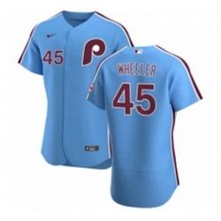 Men Philadelphia Phillies 45 Zack Wheeler Men Nike Light Blue Alternate 2020 Authentic Player MLB Jersey