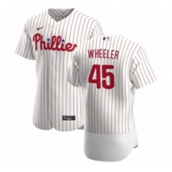 Men Philadelphia Phillies 45 Zack Wheeler Men Nike White Home 2020 Authentic Player MLB Jersey