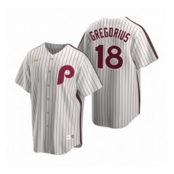 Mens Nike Philadelphia Phillies 18 Didi Gregorius White Cooperstown Collection Home Stitched Baseball Jersey