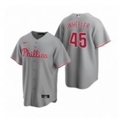 Mens Nike Philadelphia Phillies 45 Zack Wheeler Gray Road Stitched Baseball Jersey