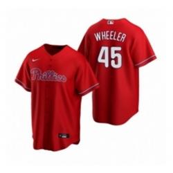 Mens Nike Philadelphia Phillies 45 Zack Wheeler Red Alternate Stitched Baseball Jersey