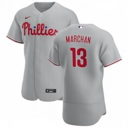 Philadelphia Phillies 13 Rafael Marchan Men Nike Gray Road 2020 Authentic Player MLB Jersey