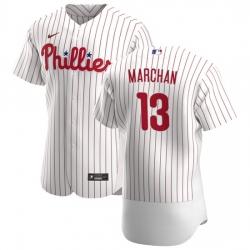 Philadelphia Phillies 13 Rafael Marchan Men Nike White Home 2020 Authentic Player MLB Jersey