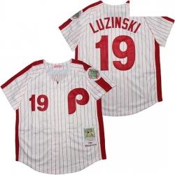 Philadelphia Phillies 19 Greg Luzinski White 100th 1980 Cooperstown Collection Jersey