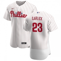 Philadelphia Phillies 23 Kyle Garlick Men Nike White Home 2020 Authentic Player MLB Jersey
