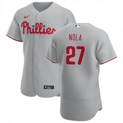 Philadelphia Phillies 27 Aaron Nola Men Nike Gray Road 2020 Authentic Player MLB Jersey