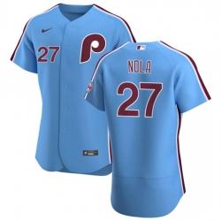 Philadelphia Phillies 27 Aaron Nola Men Nike Light Blue Alternate 2020 Authentic Player MLB Jersey