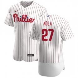 Philadelphia Phillies 27 Aaron Nola Men Nike White Home 2020 Authentic Player MLB Jersey