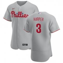 Philadelphia Phillies 3 Bryce Harper Men Nike Gray Road 2020 Authentic Player MLB Jersey