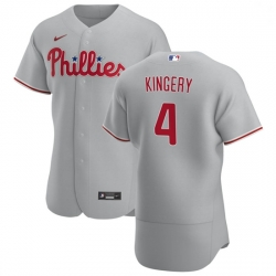 Philadelphia Phillies 4 Scott Kingery Men Nike Gray Road 2020 Authentic Player MLB Jersey