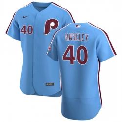 Philadelphia Phillies 40 Adam Haseley Men Nike Light Blue Alternate 2020 Authentic Player MLB Jersey