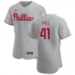 Philadelphia Phillies 41 David Hale Men Nike Gray Road 2020 Authentic Player MLB Jersey