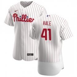 Philadelphia Phillies 41 David Hale Men Nike White Home 2020 Authentic Player MLB Jersey