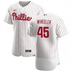 Philadelphia Phillies 45 Zack Wheeler Men Nike White Home 2020 Authentic Player MLB Jersey