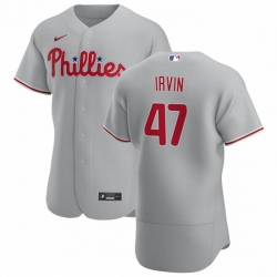 Philadelphia Phillies 47 Cole Irvin Men Nike Gray Road 2020 Authentic Player MLB Jersey
