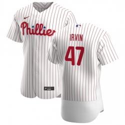 Philadelphia Phillies 47 Cole Irvin Men Nike White Home 2020 Authentic Player MLB Jersey
