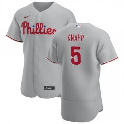 Philadelphia Phillies 5 Andrew Knapp Men Nike Gray Road 2020 Authentic Player MLB Jersey