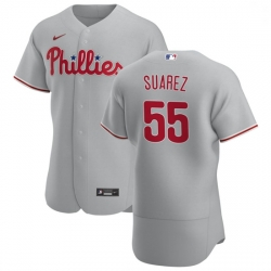 Philadelphia Phillies 55 Ranger Suarez Men Nike Gray Road 2020 Authentic Player MLB Jersey