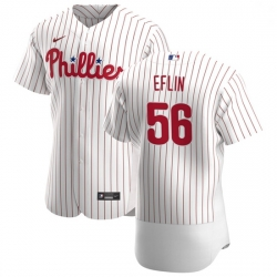 Philadelphia Phillies 56 Zach Eflin Men Nike White Home 2020 Authentic Player MLB Jersey