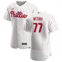 Philadelphia Phillies 77 Adonis Medina Men Nike White Home 2020 Authentic Player MLB Jersey