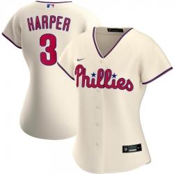 Philadelphia Phillies 3 Bryce Harper Nike Women Alternate 2020 MLB Player Jersey Cream
