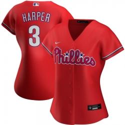 Philadelphia Phillies 3 Bryce Harper Nike Women Alternate 2020 MLB Player Jersey Red
