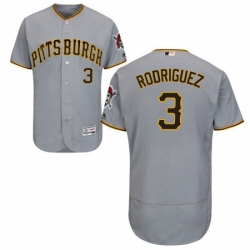Mens Majestic Pittsburgh Pirates 3 Sean Rodriguez Grey Flexbase Authentic Collection MLB Jersey