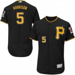 Mens Majestic Pittsburgh Pirates 5 Josh Harrison Black Alternate Flex Base Authentic Collection MLB Jersey