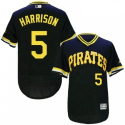 Mens Majestic Pittsburgh Pirates 5 Josh Harrison Black Flexbase Authentic Collection Cooperstown MLB Jersey