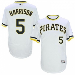 Mens Majestic Pittsburgh Pirates 5 Josh Harrison White Flexbase Authentic Collection Cooperstown MLB Jersey