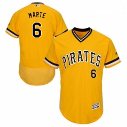 Mens Majestic Pittsburgh Pirates 6 Starling Marte Gold Alternate Flex Base Authentic Collection MLB Jersey