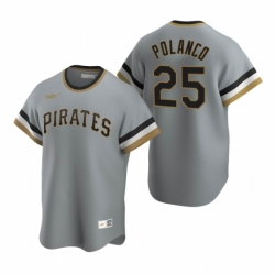 Mens Nike Pittsburgh Pirates 25 Gregory Polanco Gray Cooperstown Collection Road Stitched Baseball Jerse