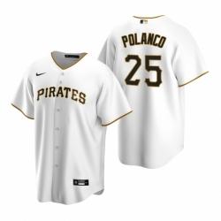 Mens Nike Pittsburgh Pirates 25 Gregory Polanco White Home Stitched Baseball Jerse