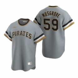 Mens Nike Pittsburgh Pirates 59 Joe Musgrove Gray Cooperstown Collection Road Stitched Baseball Jersey