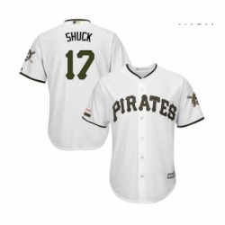 Mens Pittsburgh Pirates 17 JB Shuck Replica White Alternate Cool Base Baseball Jersey