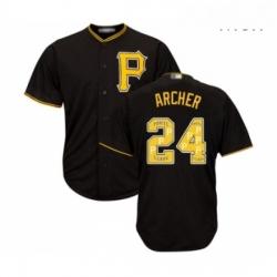 Mens Pittsburgh Pirates 24 Chris Archer Authentic Black Team Logo Fashion Cool Base Baseball Jersey