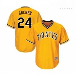 Mens Pittsburgh Pirates 24 Chris Archer Replica Gold Alternate Cool Base Baseball Jersey