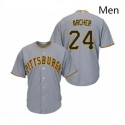 Mens Pittsburgh Pirates 24 Chris Archer Replica Grey Road Cool Base Baseball Jersey
