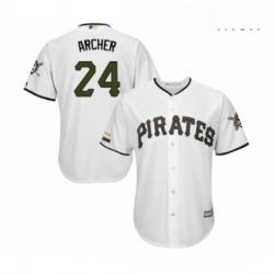 Mens Pittsburgh Pirates 24 Chris Archer Replica White Alternate Cool Base Baseball Jersey