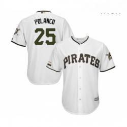 Mens Pittsburgh Pirates 25 Gregory Polanco Replica White Alternate Cool Base Baseball Jersey