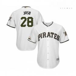 Mens Pittsburgh Pirates 28 John Jaso Replica White Alternate Cool Base Baseball Jersey