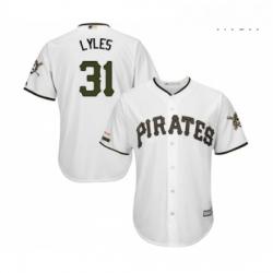 Mens Pittsburgh Pirates 31 Jordan Lyles Replica White Alternate Cool Base Baseball Jersey